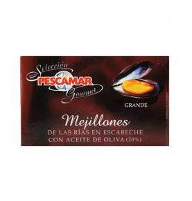 Mussels in red escabeche and olive oil, Pescamar Gourmet, 120 gr.